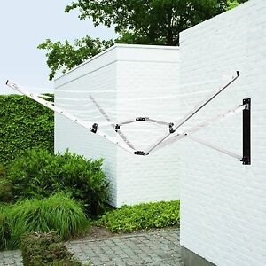 Wall fix 5 Arm Wall Mounted Rotary Dryer 26M Clothes Washing Line Airer Laundry