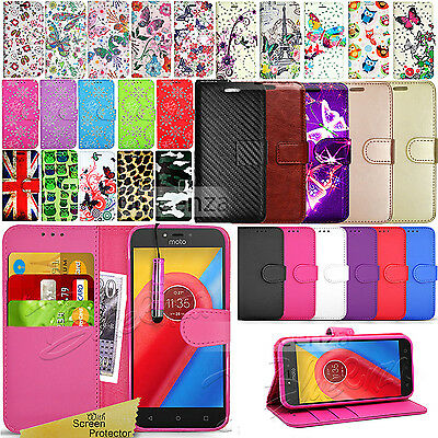 For Motorola Moto C Phone Case Wallet Leather Cover Flip Book + Screen Protector