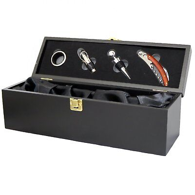 NEW! Wine Bottle Gift Box Presentation Case & 4pc Accessories Set