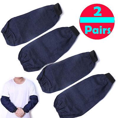 2pair Welding Arm Sleeves Denim Heat Protection Anticut Resistant Tool Solid Blu