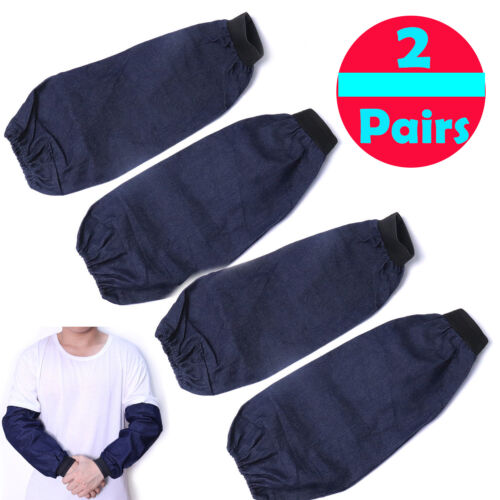 2 Pairs of Anti Cut Welding Arm Sleeves Knit Denim Elastic Cuff Heat Protection