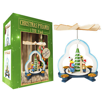 German Christmas Tree Pyramid Play Set- 9 inch - Table Top Holiday Decoration ()