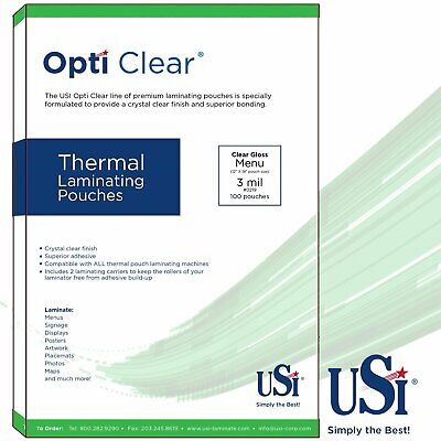 Usi Opti Clear Thermal Laminating Pouches 3mil Menu Size 12x18 100-pack