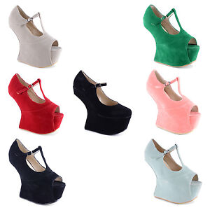 New-Ladies-Heel-Less-T-Bar-Mary-Jane-Peep-Toe-Platform-Shoes-Size-3-4-5-6-7-8