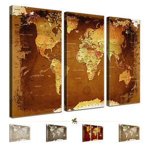lanakk carte du monde xxl toile ancien tableau punaise li ge marron beige ebay. Black Bedroom Furniture Sets. Home Design Ideas