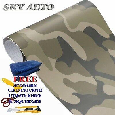(Military Green Camouflage Matte Vinyl Car Decal Wrap Film Sheet + Free Tools)
