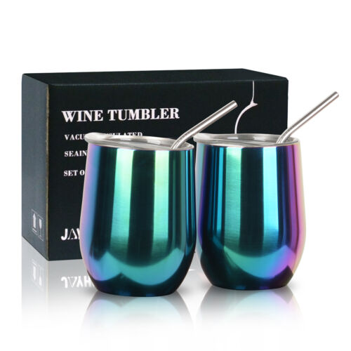 2x 12 oz Insulated Stainless Steel Wine Cups Double Wall  Wi