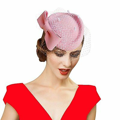 Lady Womens Dress Fascinator Wool Felt Pillbox Hat Party Wedding Bow Veil A082