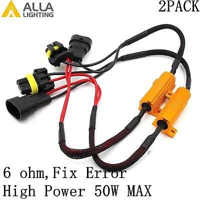 Alla Lighting 9006 HB4 50W 6ohm Load Resistor Fix LED Fast Blink Flicker Error