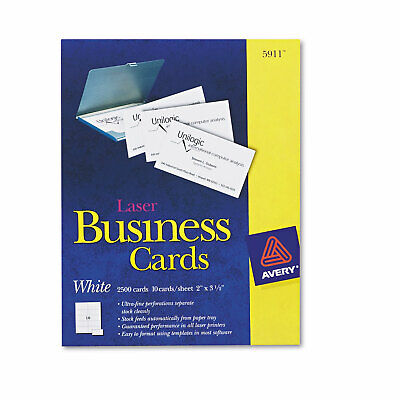 Avery Printable Microperf Business Cards Laser 2 X 3 12 White Uncoated 2500box