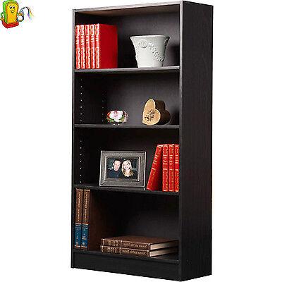 WOOD BOOKCASE Adjustable Book Shelving 4 Shelf Organizer Bookshelf Furniture