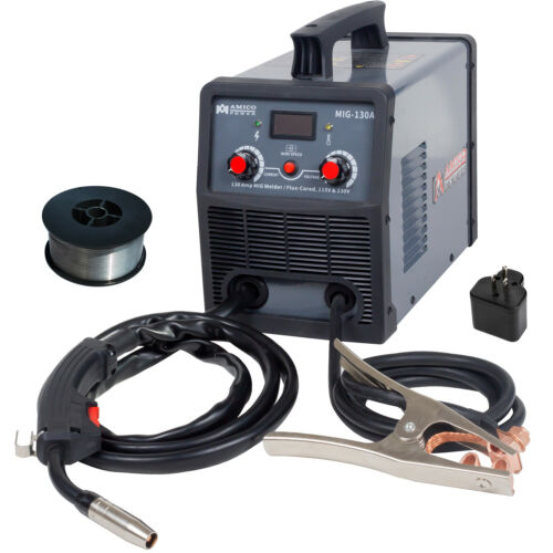 130 Amp MIG/Flux Core Welder, 115/230V Dual Voltage Inverter Welding Soldering
