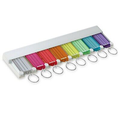 Lucky Line Key Tag Rack with 8 Tags, Assorted Colors, 1 Pack (60580)
