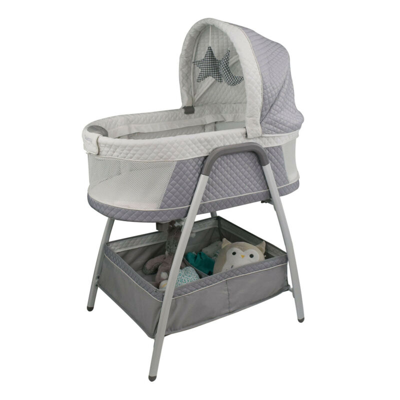 TruBliss Baby 3-in-1 Journey Bassinet Crib Sleeper with Nightlight, Soft Grey