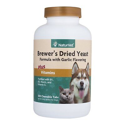 Dry Brewers Yeast (NaturVet BREWERS DRIED YEAST Garlic Flavor Plus Vitamins | Dogs and Cats 500)