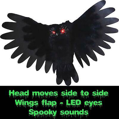 Animated Owl Halloween (Spooky Halloween ANIMATED OWL Flapping Wings Haunted House Prop Decor-LED)