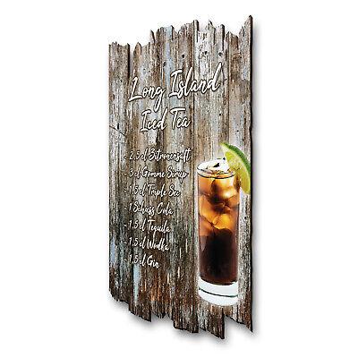 Long Island Iced Tea Cocktail Schild Rezept Shabby aus Holz Wand-Deko 30x20 Long Island Iced Tea