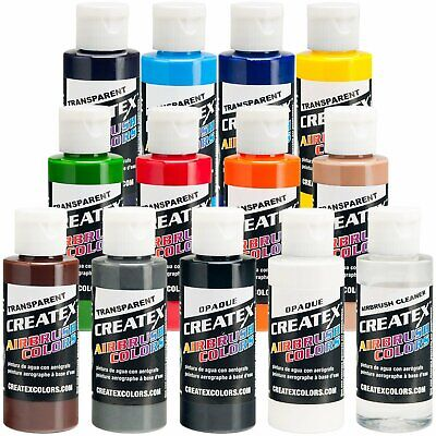 Createx 12 Color Transparent Airbrush Paint Set 2 oz Bottles (11 colors+cleaner) Createx Paint 2 Oz Bottle