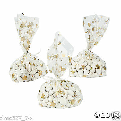 24 HOLLYWOOD Movie Awards Night Party Favor Goody Treat GOLD STAR Cello BAGS - Hollywood Favors