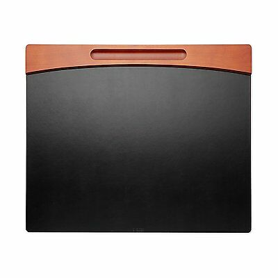 Rolodex Desk Pad Wood And Faux Leather Mahogany And Black 81769