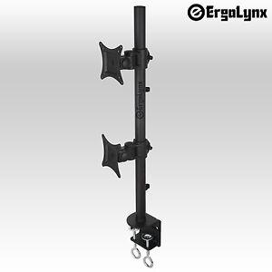 Ergolynx Double Screen VESA Monitor Pole Arm Desk Mount Twin LCD LED TV Clamp 2