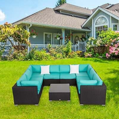 9 Piece Outdoor Wicker Sectional Sofa Patio Backyard Furniture Conversation Set ()
