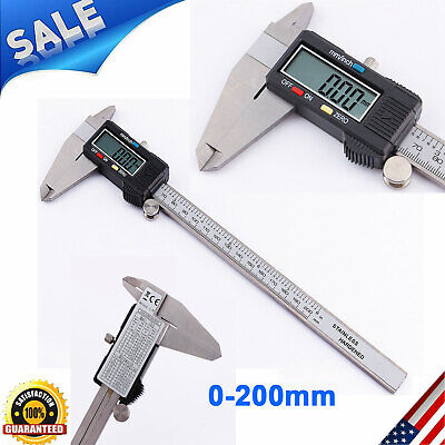 200mm Stainless Steel Electronic Digital Vernier Caliper Micrometer Guage Lcd Us