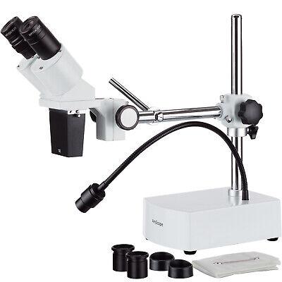 Amscope 10x-20x Led Binocular Stereo Microscope Boom Arm Led Gooseneck