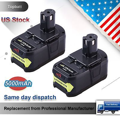 2 Pack 5 0Ah Replacement For Ryobi 18V Battery Lithium Ion P108 One  P104 P105