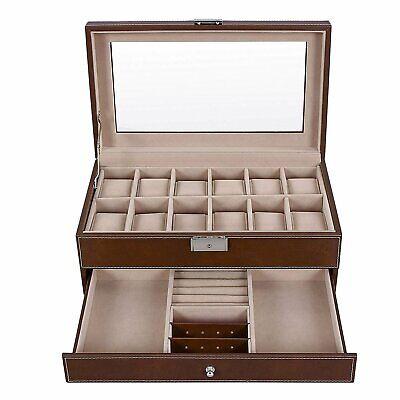 Lockable 12 Slots Mens Watch Box Watch Storage Organizer Jewelry Display Case US