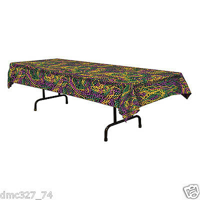 1 MARDI GRAS Fat Tuesday Party Decoration BEADS TABLE COVER Green Gold Purple  - Mardi Gras Table Decor