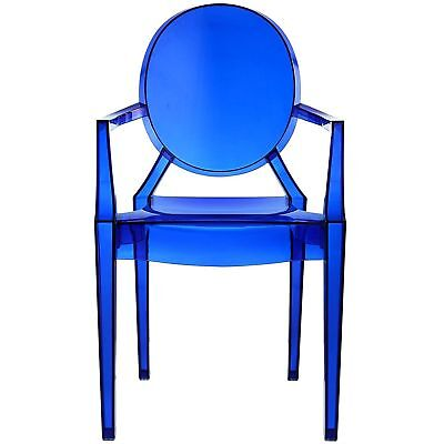 Blue Clear Plastic Arm Chair 1Pc In Out Door Stackable Dining Seat Furniture  1 Seat Arm Chair