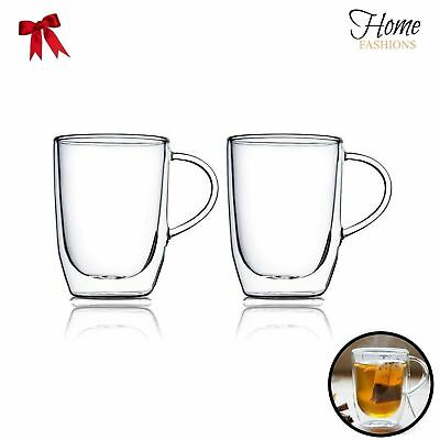 - Home Fashion Double Wall Glass Clear Insulated Glasses Cups Mugs (Set of 2) 17oz