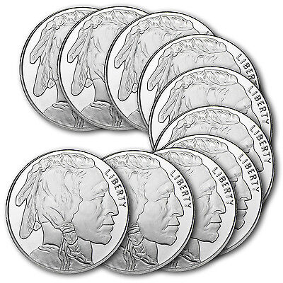 1 oz Silver Buffalo Round .999 Fine (Lot of 10)