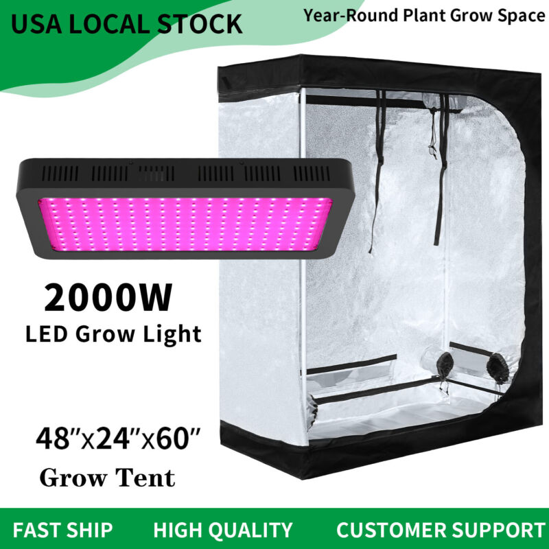 New 2000W Led Grow Light Veg Flower Plant +4'x2' Hydroponic Indoor Grow Tent Kit Unbranded NYG000148 for 133.99.