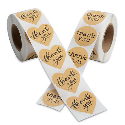 1000pcs Kraft Thank You Stickers Gift Envelopes Decor Label for Wedding - Scrapbook Stickers