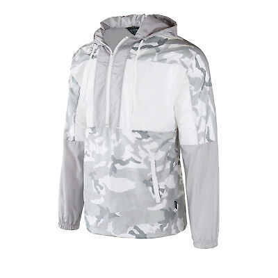 Men's Hooded Pullover Lightweight Windbreaker Outdoor Jacket White Camo Fashion Camo Hooded Pullover