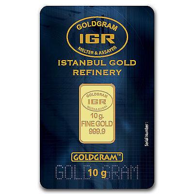 10 gram Gold Istanbul Gold Refinery Bar - In Assay - SKU #61575