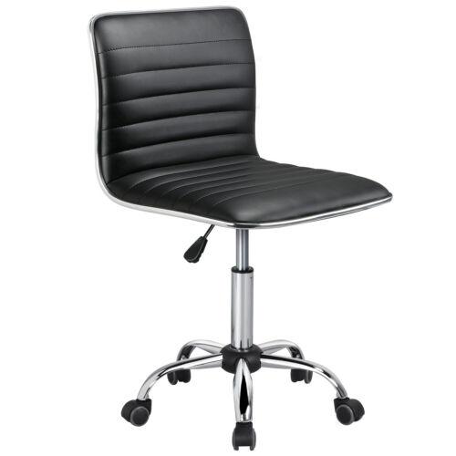 Low Back Designer Armless Desk Chair Ribbed Swivel Task Chai