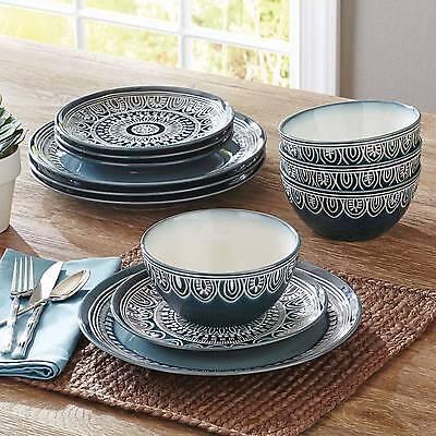 Modern 12-24 Piece Dinnerware Set For 4-8 Plates Bowls Teal Medallion Blue White - Teal Dinnerware