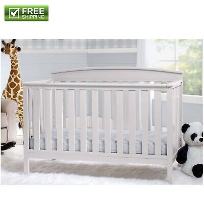 Convertible Baby Bed 4 in 1 Full Size Crib White Nursery Bedroom Furniture New! (White 4 In 1 Baby Crib)