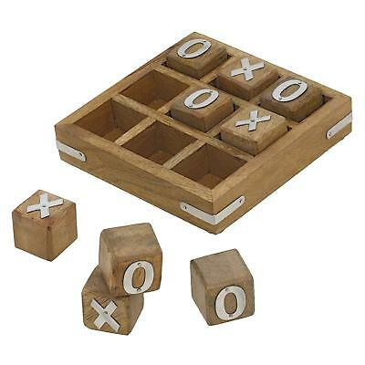 Wooden Board Tic Tac Toe Game Great Family Gift Handmade by ShalinIndia ()