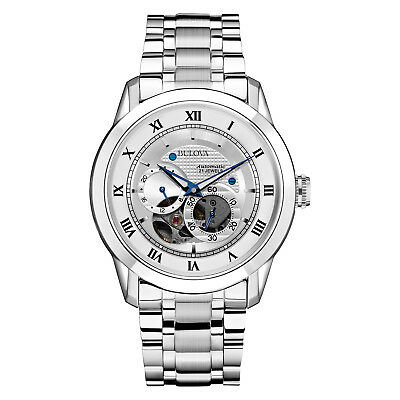 Bulova BVA Men's 96A118 Automatic Open Heart Window Silver-Tone 42mm Watch