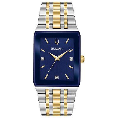 Bulova Quadra Men's Quartz Diamond Accent Two-Tone Blue Dial 31mm Watch 98D154