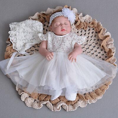 Newborn Baby Christening Gown Infant Lace Baptism Dress with hat/bonnet 2 pcs  - Christening Hat