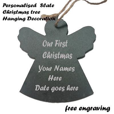 Engel-dekor (Personalisiert Weihnachten Schiefer Engel Dekor Baumdekoration Jeder Anlass)