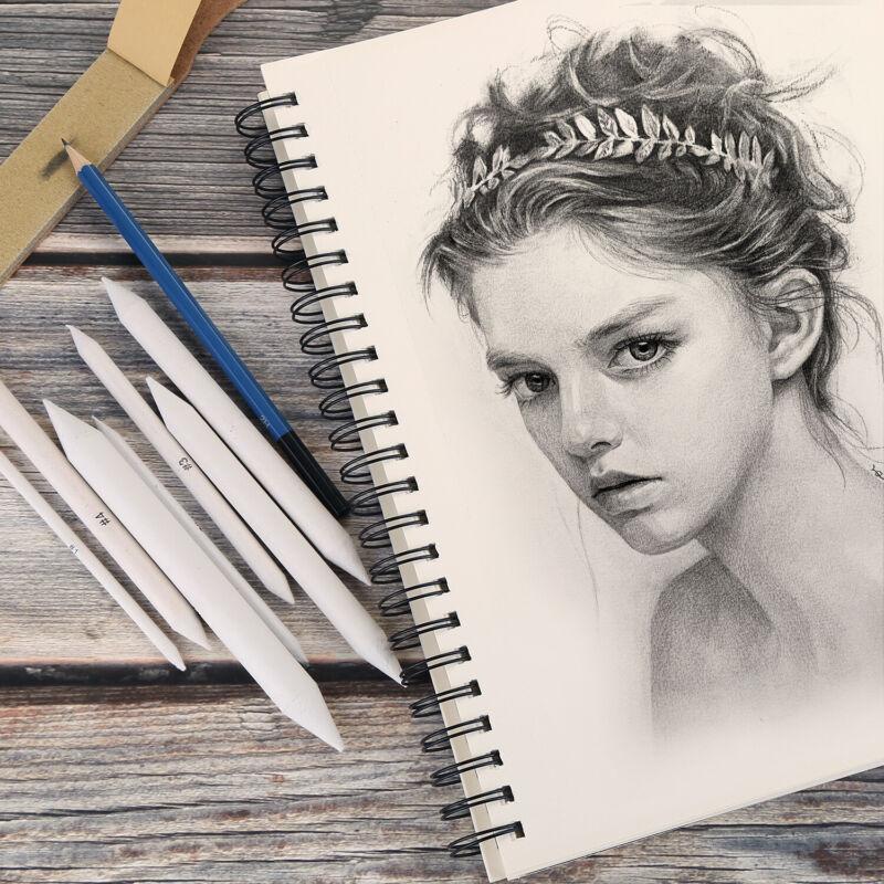 22pcs Blending Stumps Tortillion Set Sandpaper Pencil for Student Sketch Drawing
