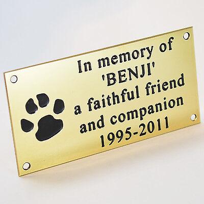"Pet Memorial Engraved Polished Solid Brass Plaque 4""x2"" Dog Cat Horse + Screws"
