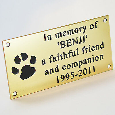 "Pet Memorial Engraved Polished Solid Brass Plaque 4""x2"" Dog Cat Horse + Screws"