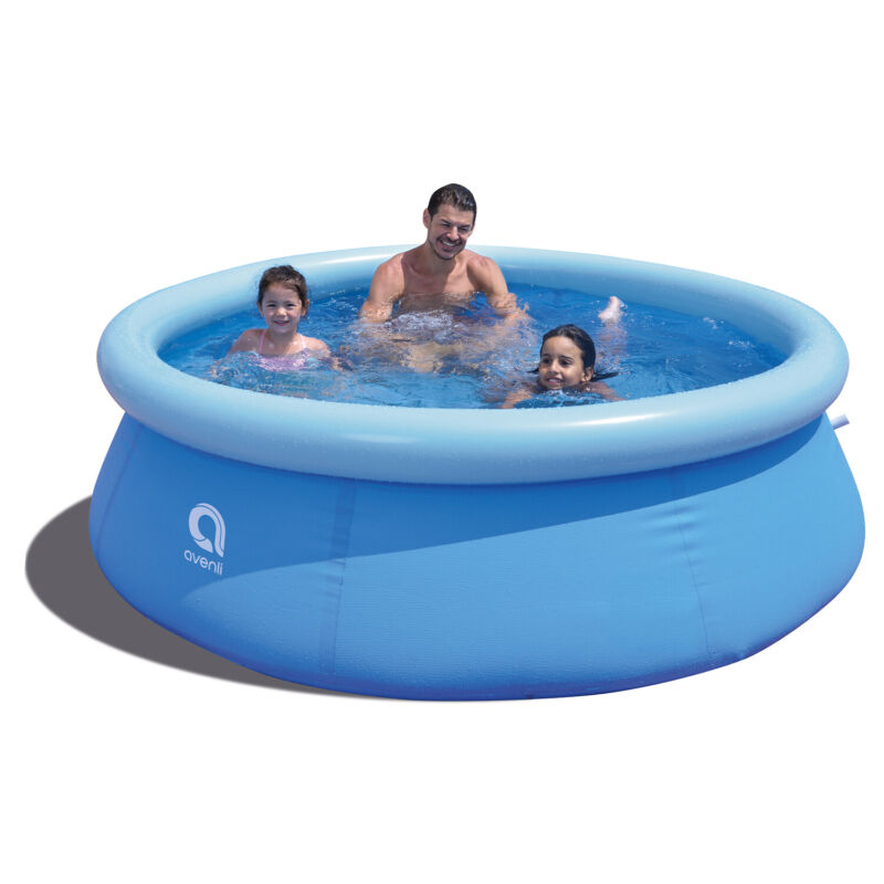 """JLeisure 8 Ft x 25"""" Prompt Set Inflatable Outdoor Backyard Swimming Pool, Blue"""